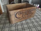 Old Crescent Baking Powder Brand Wood Shipping Box Seattle U.S.A. Primitive