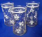 Set Of Three Vintage Libbey Drinking Glasses White Flower Tumblers