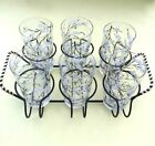 VTG set 6 glass tumblers with B/W dogwood design and matching metal caddy