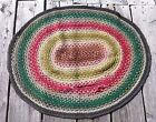 Antique Victorian BRAIDED RUG WOOL Oval 47