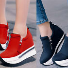Womens High Heel Wedge Trainers Platform Pumps Ankle Canvas Casual Sneaker Shoe