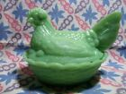 Jadeite Green Glass Hen on Nest Candy Dish in Excellent Condition.