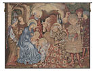 Nativity Adoration Italian Jacquard Woven Tapestry Textile Art Wall Hanging