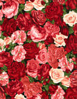 Packed Pink and Red Roses Rose Garden Timeless Treasures By 1 2 yd