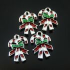 20pcs Christmas Bow knot Enamel Alloy Charms Necklace Pendant Jewelry Making
