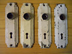 Very cool set of 4 Art Deco styled antique door knob backplate escutcheons
