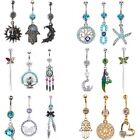 14G Unique Dangle Belly Button Ring Lot Body Piercing Navel Barbell Jewelry 3PCS