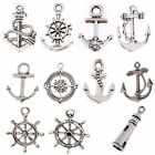 10PC Ship Wheel Tibetan Silver Compass AnchorRope Charms Lot Pendants Beads