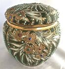 Antique Nippon Maple Leaf Gold Beaded Jeweled Moriage Lotus Covered Jar Humidor