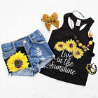 USA Toddler Kids Baby Girl Summer Tops T shirt Denim Shorts 2Pcs Outfits Clothes