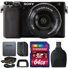Sony Alpha A6000 Mirrorless Digital Camera Black w/ 16-50mm Lens and Accessories