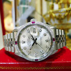 MENS ROLEX OYSTER PERPETUAL DATEJUST DIAMOND STAINLESS STEEL DIAMOND WATCH