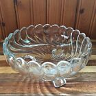 Vintage Clear Glass Wavy Three-Legged Bowl Candy Nuts Scallop Edges