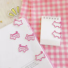 10pcs lot Cute Pig Pink Bookmark Paper Clip Hollow Out Metal Binder Clips