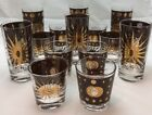 Midcentury Fred Press Atomic Starbust Eclipse 14 Collins Whiskey Glass Set Gold