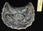 Celery Dish Rolled Curved Pressed Glass Scalloped Edge FLower Design Vintage