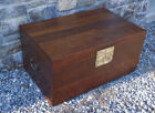 Antique Chinese Ming style camphor wood trunk 18-19thc Dovetailed sides brass HW