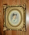 Antique Victorian Deep Heavy Molding Gilded Gesso on Wood Picture Frame Glass
