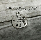 LOVE YOU TO THE MOON AND BACK Charm Antiqued Silver Quote Pendant Inspirational