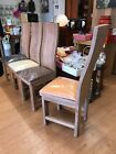 solid washed wood dining chairs x 6 ex display