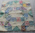 1 antique 1920-30's Postage Stamp Oval quilt block, pretty prints