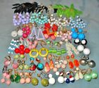Large Colorful Variety  35 pair  Vintage Old Plastic  Dangle Style Earrings