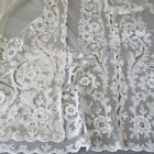 3 Vintage French TAMBOUR LACE Embroidered + Appliqued Panels 61