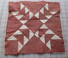 1 antique 1900-10's Flying Geese quilt block, red tattersall and muslin