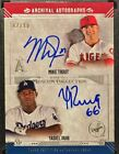 2015 TOPPS MUSEUM COLLECTION DUAL ARCHIVAL AUTOS 15 MIKE TROUT YASIEL PUIG