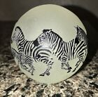 Correia Clear Frosted Art Glass Wildlife Paperweight Featuring 8 Zebras 3 Diam