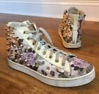 Stokton Womens Gold Spike Fashion Sneakers Off White Floral Sz 39 EU 8 85 US
