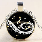 New Cabochon Glass Silver Pendant Necklace Music Notes Jewelry