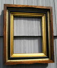 Unusual Antique Double Gold Gilt Liner Carved Picture Frame Black Trim 8 x 10