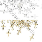 50 Plated Small Little 7mm Religious Cross Drop Charms W Loop Brass Base Metal