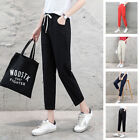 NEW WOMEN LINEN COTTON SLIM LEG PAMTS BAGGY LOOSE FIT TROUSERS CASUAL WAIST PANT