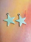 6 Star Charms 5 Point Pendants Antiqued Silver Metal Stamping Blanks Flat