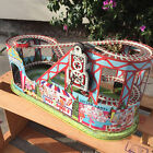 Vintage 1940s CHEIN Wind Up Roller Coaster Carnival Tin Litho Toy + 1 Red Car