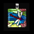 VIBRANT DRAGONFLY Spring Summer Garden Insect Glass Tile Pendant Necklace