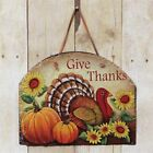 New Primitive GIVE THANKS Fall Pumpkin Crow Sunflower Turkey Sign Slate Hanging