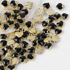 6 Tiny Heart Charms Enamel Gold Black Love Findings Dangles Jewelry Making