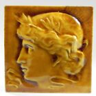 J G Low Decorative Ceramic Art Tile Portrait Woman 1883 Relief