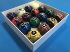New Black Marble Swirl Pool Table Billiard Balls Set 2 1 4 Reg Size