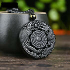 China Natural Obsidian Hand Carved Dragon Phoenix Lucky Amulet Pendant Necklace
