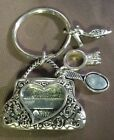 Magnetic clasp Metal Heart Purse photo Holder Frame W Charms Keychain
