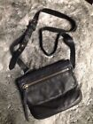 All Saints Leather Hera Cross Body Small Bag Boho Vintage Distressed Black Grey