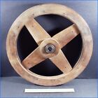 VINTAGE INDUSTRIAL WOOD PULLEY WHEEL GEAR 4 SPOKES CENTER BEARING MOLD STEAMPUNK