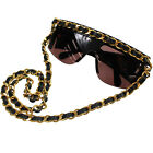 CHANEL Chain Sunglasses Black Plastic Eye Wear Vintage Italy Authentic H742 M