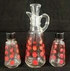 Vtg ANCHOR HOCKING FIRE KING Red Polka Dot Glass Cruet, Stopper, Salt