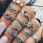 11Pcs Set Silver Gold Boho Carved Arrow Moon Midi Finger Knuckle Rings JewelrG4N
