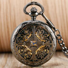 Vintage Grilles Hollow Flower Automatic Mechanical Men Women Pocket Watch Chain